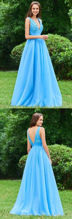 Blue V Neck A Line Sleeveless Appliques Backless Floor Length Prom Dresses The Latest Fashion. Mermaid Prom Dresses, Cheap Prom Dresses, Party Dresses, Gowns For Girls, Blue V, Appliques, Latest Fashion, Ball Gowns, Evening Dresses