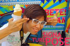 Akso Rojas doing his signature pose in Vigan in front of a dirty ice cream vehi XD