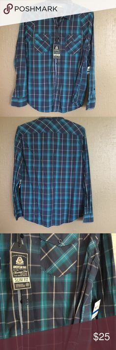 New American Rag Men's size XL Plaid Cotton Shirt New American Rag Men's Slim fit Size XL Cotton Shirt in Dark Blue,Turquoise blue, and white. Tags attached American Rag Shirts Casual Button Down Shirts