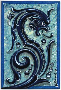 Ferrari Fileteados Dragón Azul, esmalte sintético sobre chapadur, 18 x 12 cm. Buenos Aires, Mayo de 2017.