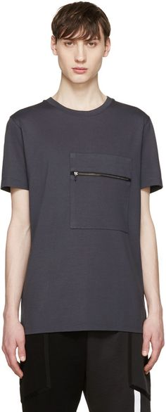 Pyer Moss SSENSE Exclusive Grey Pocket Zip T-Shirt