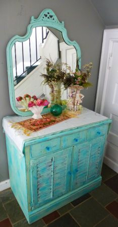 New York: ~~~Primitive Beach Cottage Cabinet with Mirror~Vintage~ $495 - http://furnishlyst.com/listings/237699