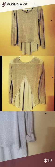 Gray sweater This sweater has studs on the neckline and a see through back. Sweaters Crew & Scoop Necks