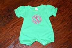 We love this monogrammed baby romper! The price includes a three letter monogram.   Please be sure to enter the initials in the EXACT order you'd like them to appear. Monograms are typically: First Name Initial, LAST Name Initial, Middle/Maiden Name Initial. For example, Addison Wells Taulbee would be listed as ATW. Please allow 3 days.