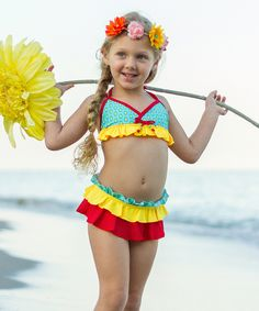 Loving this Turquoise & Yellow Polka Dot Skirted Bikini - Toddler & Girls on #zulily! #zulilyfinds