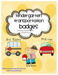Back to School Kindergarten Bus Badges