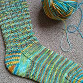 Echo Beach Sock is another quick to knit design, with an easy to memorise stitch pattern - a perfect travel project, charity or gift knit and a great way to use up left over sock yarn.