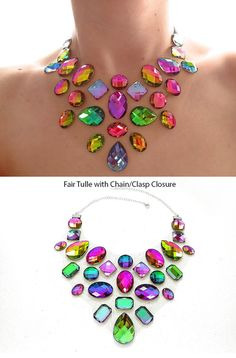A unique and colorful floating rhinestone statement necklace. These unique acrylic rhinestones sparkle pink, green, and yellow, while others look blue, but blend into green and purple. The resulting illusion style necklace is incredibly eye-catching and changes color at every angle.  I set each rhinestone onto a sheer fabric base (it is best to select a fabric that matches your skin tone. See my photos of the fabric examples!), and a satin ribbon makes this piece completely adjustable. Felt…