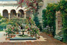 Manuel García y Rodríguez (1863-1925)  A courtyard in Seville, 1922  Olio su tela, 53,6 x 80 cm Coll.privata