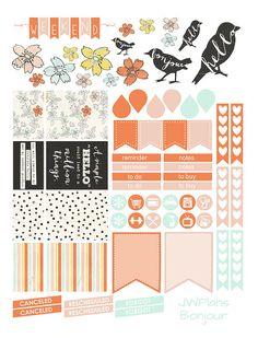 PRINTABLE Erin Condren Planner Bonjour by PricklyPearDesignCo