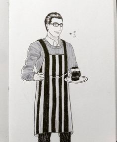 Yeah I knew the apron design is boring   #drawings #illustration #OCs #menwithglasses #originalcharacter #ink #brushpen #librarian #cafepress #frenchpress #coffee #kaffee #brushmarker #イラスト #まんが #絵描き #그림