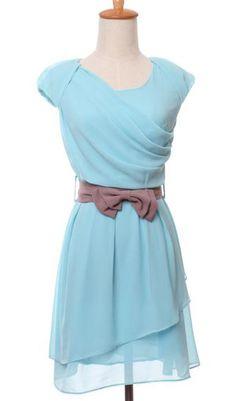 Waist double-layer chiffon bow short sleeve dress
