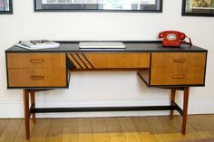 SOLD Striking Danish Style Mid Century Desk or Dressing Table Refinished with Black Accents