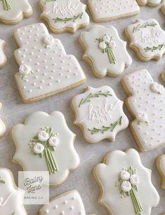 Cupcakes Fondant Boda Bridal Shower 52 New Ideas Wedding Shower Cookies, Wedding Cake Cookies, Fall Wedding Cakes, Wedding Desserts, Wedding Cupcakes, Bridal Shower, Wedding Ideas, Fancy Cookies, Iced Cookies