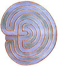 Finger Labyrinth, can make with paper and puffy paint or yarn and glue.  Cretan Labyrinth.