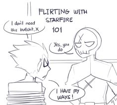 Flirting with Starfire 101 Teen Titans Fanart, Teen Titans Starfire, Nightwing And Starfire, Teen Titans Go, Original Teen Titans, Robin Dc, Couples Comics, Dc Memes, Geek Humor