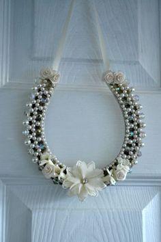 Wedding Horseshoe gift. Ivory crystal/Pearls