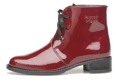 Palmroth boot with laces chili red patent - Palmroth Shop Red Ankle Boots, Patent Leather Boots, Winter Boots, Fall Winter, New Shoes, Rubber Rain Boots, Chelsea Boots, Fashion Shoes, Footwear