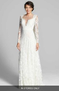 Watters 'Arcelia' Illusion Yoke A-Line Lace Gown (In Stores Only)