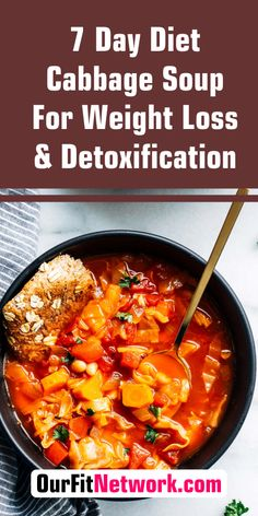 This cabbage soup detox recipe is not only healthy, it's also helpful for your weight loss plan! It is easy to make and has the lowest calorie count possible. #cabbagesoup #cabbagesouprecipe #recipe #easy #vegetarian #healthy #detox Detox Soup Cabbage, Cabbage Soup Recipes, Healthy Detox, Healthy Food, Healthy Recipes, Detox Juice Recipes, Tea Recipes, 7 Day Diet, Eat Fruit