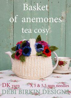 flower basket garden tea cosy teacozy cozy cosies PDF email knitting pattern