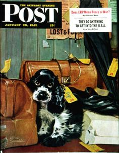 January 1949 Saturday Evening Post Magazine Cover Art by Albert Staehle has 108 pages of ads and articles American Cocker Spaniel, Cocker Spaniel Puppies, Springer Spaniel, Journal Vintage, Cockerspaniel, Saturday Evening Post, Butches, Cool Posters, Dog Art