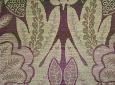 Montrose Wool Fabric: A beautiful wool damask in beige with an olive green and purple mixed background.