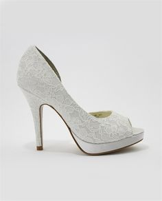 """Lace is in full swing and this shoe will fit right in with your attire. Now at Lilla's Bridal. Stunning Light Ivory Satin Lace Peep-Toe D'Orsay with platform covered in satin. Heel 4 1/4"""" - Platform 3/4"""""""