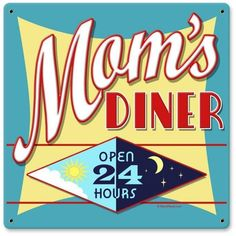 Vintage and Retro Wall Decor - JackandFriends.com - Vintage Mom's Diner Metal Sign 2, $35.97 (http://www.jackandfriends.com/vintage-moms-diner-metal-sign-2/)