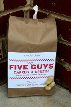 Family Of 5 Gift Ideas. Apples For Teachers. Teacher Gifts. Bus Driver Gifts. Janitor Gifts. Creative Gift Ideas. Gift Card Presentations! Five Guys Burgers & Fries.