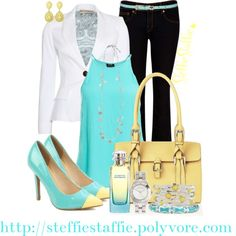 """""""Spring Chic Mint & Yellow"""" by steffiestaffie ❤ liked on Polyvore"""