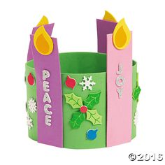 The Advent Foam Candle Stand Up Wreath is a fun arts and crafts project for kids. It comes with sets of colorful self-adhesive foam pieces that can make 12 ...