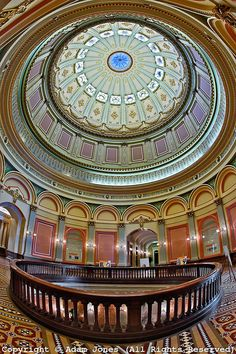 Architectural details of the rotunda at California State Capital Building, Sacramento, California