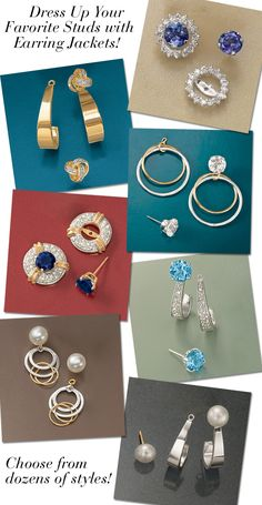 Dress up your favorite diamond studs, gemstone studs, or pearl studs with a pair or two of earring jackets! Choose from dozens of styles at Ross-Simons including diamond earring jackets, gold hoop earring jackets, gold dangle earring jackets, diamond hoop earring jackets, white gold earring jackets. >>Click on the earring jacket styles to see our complete collection. #RossSimons