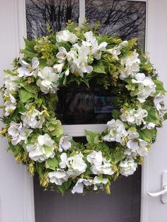 White Hydrangea & Freesia  with Lush Greens Wreath by julielaplant, $169.00