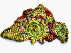This week's scrumble started with the lime green crochet spiral. Before cutting off the yarn I added points around the edge. Crochet Cord, Freeform Crochet, Crochet Motif, Irish Crochet, Crochet Flowers, Free Crochet, Crochet Patterns, Crochet Geek, Crochet Potholders
