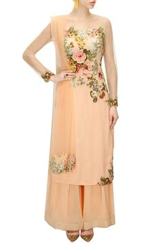 Peach floral applique work kurta set available only at Pernia's Pop-Up Shop.