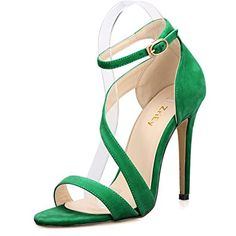 ZriEy Women's Ladies Strappy Thin High Heel Sandals Ankle Strap Cuff Peep Toe Shoes Sexy Comfortable Elegant Velvet Green size 7.5