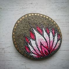 Hand painted stones - flower.