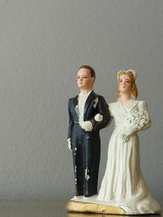 Vintage French Chalkware Ceramic Wedding Cake Topper