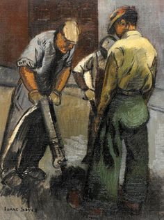 Find artworks by Isaac Soyer (American, 1902 - on MutualArt and find more works from galleries, museums and auction houses worldwide. Social Realism Art, Industrial Artwork, Ashcan School, Art Station, American Artists, Traditional Art, Art History, Printmaking, Art Projects