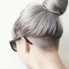hair, grey, and undercut image
