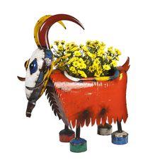 Earth de Fleur Homewares - Billy the Goat Planter EEIEEIO Metal Animal Garden Art Sculpture