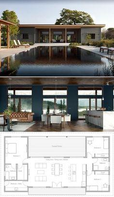 architecture house dream homes Hausplan, Hausbau, Architektur, Grundriss Modern Home Design, New Home Designs, Home Design Plans, Home Layout Plans, Interior Modern, Small Modern House Plans, New House Plans, Pool House Plans, Small House Floor Plans