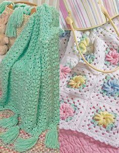 Picture of Popcorns & Pinwheel Roses Afghan Set Crochet Pattern