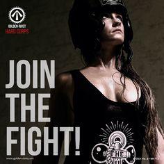 Golden-Rivet Hard Corps gymwear - custom hand printed designs. JOIN THE FIGHT!