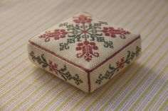 Párna - this is one of my favourites, thank you. Biscornu Cross Stitch, Cross Stitch Charts, Cross Stitch Designs, Cross Stitch Embroidery, Cross Stitch Patterns, Cross Stitch Freebies, Cross Stitch Finishing, Sewing Accessories, Cross Stitch Flowers