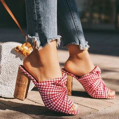 Liren Red Plaid High Heels Sandals Slippers Summer Block Heeled Flip Flop Slip on Fashion Sexy Slippers Pumps Red Shoes Pumps Peep Toe Shoes, Pump Shoes, Women's Pumps, Mules Shoes, Heeled Mules, Shoes Heels, Heeled Sandals, Heeled Flip Flops, Comfortable Sandals