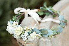 White or blush pink sage eucalyptus flower crown Side Flower crown wedding flower crown bridal crown bohemian crown dainty floral crown Hair Flower Crown Bride, Floral Crown Wedding, Flower Crown Headband, Bride Flowers, Bridal Crown, Bridesmaid Flowers, Wedding Flowers, Floral Crowns, Wedding White