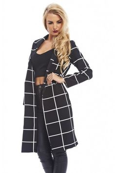 Black and white checkered long jacket